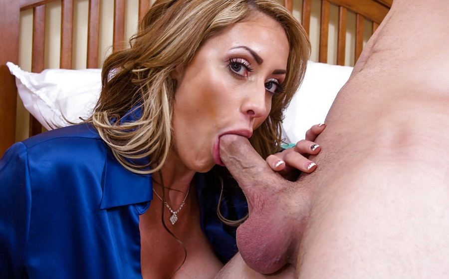Soccer mom sucks bbc passionately and strokes his cum out